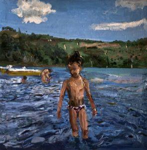 Federico Lombardo, Elisabetta al lago. Olio su tela, 2017