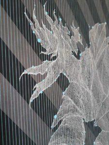 Giorgio Milano, Here time becomes space (dettaglio). Acrilico e pigmento di grafite argentea su tela, 2018