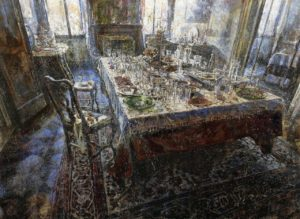 Raffaele Minotto, Il banchetto. Olio su tavola, 2017