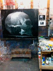 Davide Frisoni, Custodia, olio su base acrilico e polvere di quarzo su tela, 2012
