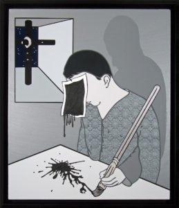 Gabriele Arruzzo, Senza titolo (Stress test). Smalto e acrilico su tela e cornice in legno dipinta, 2014