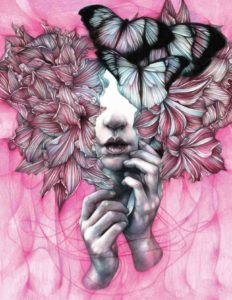 Marco Mazzoni, A secret. Matite colorate su carta, 2017