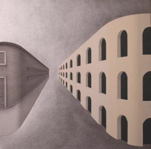 Paolo Fiorentino, P1. Grafite, acrilico e foglia d'argento su tela, 2013