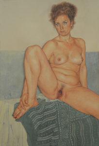 Riccardo Mannelli, Sono una donna. Ammazzami (G.). Pittura su cotone, 2015