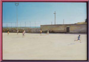 Francesco Lauretta, Il quadro più bello del mondo (remix). Olio su tela e cornice bicolore, 50x70 cm, 2018. Galleria Giovanni Bonelli, Milano