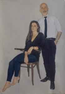 Riccardo Mannelli, Contemporanei. Pittura su cotone, 2019. Collezione privata