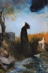 Sergio Padovani, La rivelazione o Maddalena. Olio, bitume e resina su tela, 2018