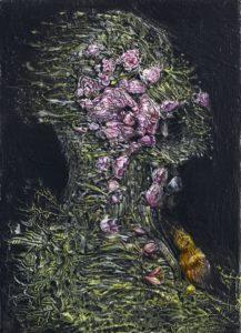 Agostino Arrivabene, Aura seminali I. Olio su legno, 23x16 cm, 2015