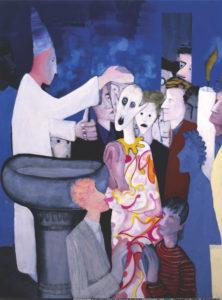Marco Cingolani, Il battesimo dell'alieno. Tempera su tela, 2008