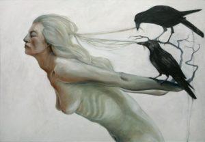 Simona Bramati, Della vita a cedere. Olio e matita su tela, 2013