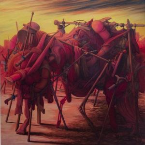 Simone Racheli, Crepuscolo 1. Olio su tela, 150x150 cm, 2016