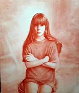 Daniele Vezzani, Francesca con braccia conserte. Olio su tela, 120x100 cm, 2019