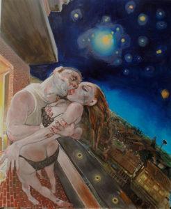 Enrico Robusti, Oh caro! Sento che la notte partorirà lune rosse… Olio su tela, 120x100 cm, 2012