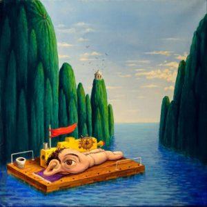 Luigi Serafini, Capitano Ulisse! Olio su tela, 60x60 cm, 2017