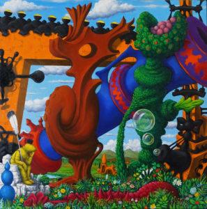 Luigi Serafini, Giardino segreto. Olio su tela, 60x60 cm, 2015-19