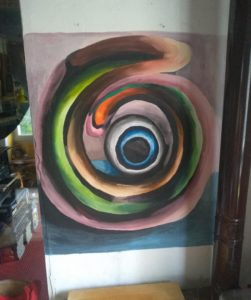 Marta Sesana, Spirale. Acrilico e bianco per muri su muro, Laboratorio Luna, Socraggio 2019