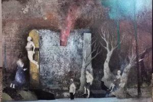 Sergio Padovani, La casa che arde viva. Olio, bitume e resina su tela, 110x70 cm, 2019