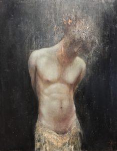 Agostino Arrivabene, Olos-Caustos. Encausto su tavola, 45x35 cm, 2020