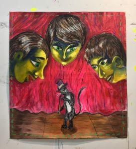 Andrea Fiorino, Il colpevole sei tu. Acrilico, fusaggine e pastelli su cotone grezzo e asole in metallo, 115x125 cm, 2019. Casa Vuota, Roma