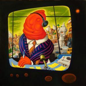 Luigi Serafini, Telequadro n° 11. Olio su tela, 100x100 cm, 2017