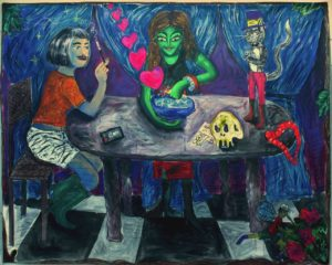 Andrea Fiorino, Pozione d'amore. Acrilico, fusaggine, pastelli e gesso su cotone grezzo, 178x199 cm, 2019