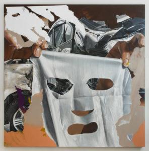 Andrea Martinucci, 5092019.jpeg. Acrilico, terra, grafite e alluminio su tela, 200x200 cm, 2019