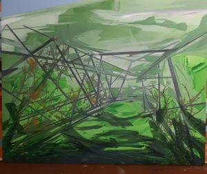 Annalisa Fulvi, Ponte verde. Acrilico su tela, 120x150 cm, 2020