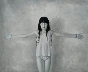 Daniele Vezzani, A braccia aperte. Olio su tela, 140x170 cm, 2020