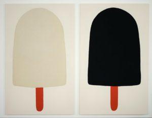 Adelaide Cioni, Go easy on me, black and white with red sticks. Lana cucita su tela, 156x98 cm ciascuno, 2020